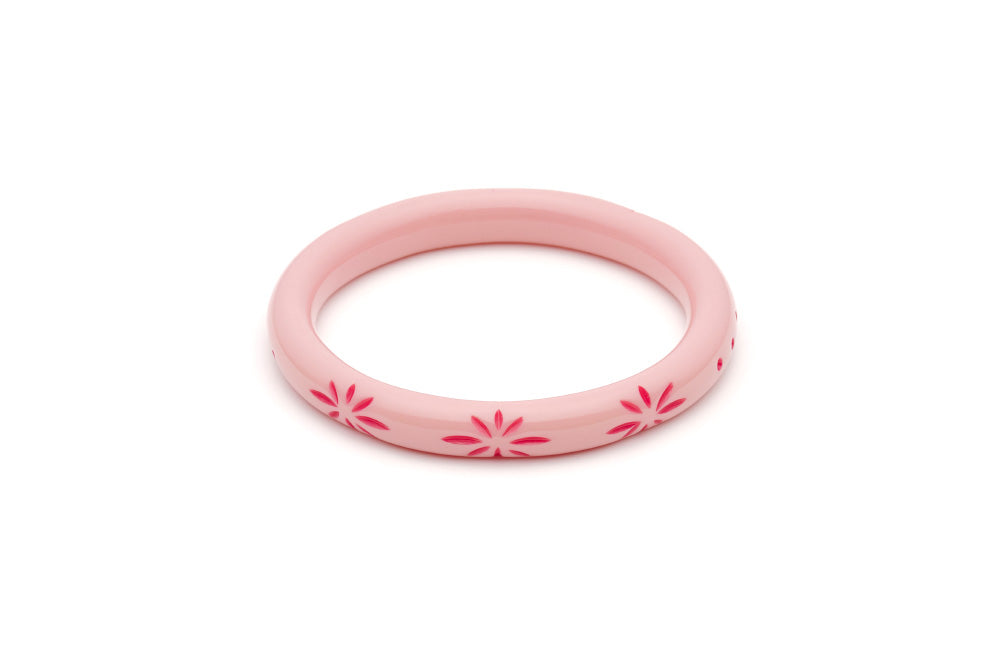 Splendette vintage inspired 1950s pin up style soft pink Duotone fakelite Narrow Ripple Carved Bangle in Classic size