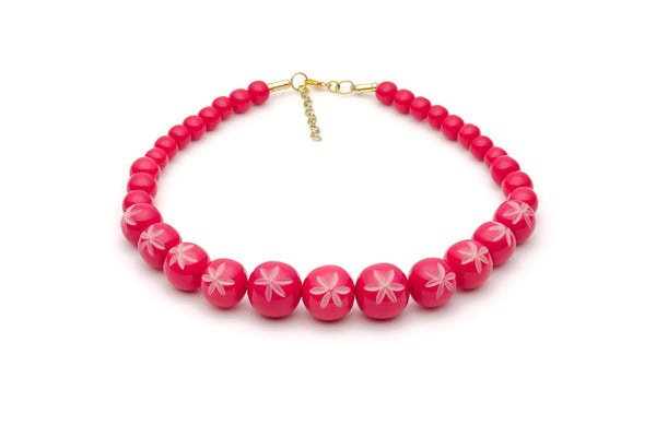 Splendette vintage inspired 1950s pin up style bright pink Duotone fakelite Raspberry Carved Bead Necklace