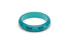 Splendette vintage inspired 1950s style teal Duotone fakelite Midi Dragonfly Carved Bangle in Classic size
