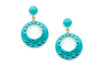 Splendette vintage inspired 1950s style turquoise Duotone fakelite Nymph Carved Drop Hoop Earrings