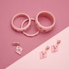 Splendette vintage inspired 1950s style Valentine's pink Sweetheart Starburst Bangles, Earrings and Brooch flat lay