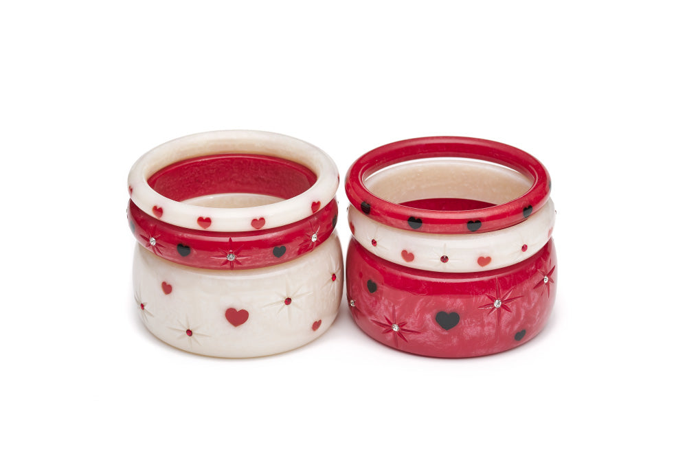 Splendette vintage inspired 1950s style Valentine's white Secret Admirer Starburst Bangles and red Heartthrob Starburst Bangles in two stacks
