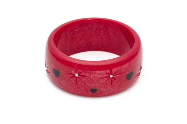 Splendette vintage inspired 1950s style Valentine's red Extra Wide Heartthrob Starburst Bangle in larger Duchess size