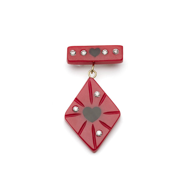 Splendette vintage inspired 1950s style Valentine's red Narrow Heartthrob Starburst Brooch