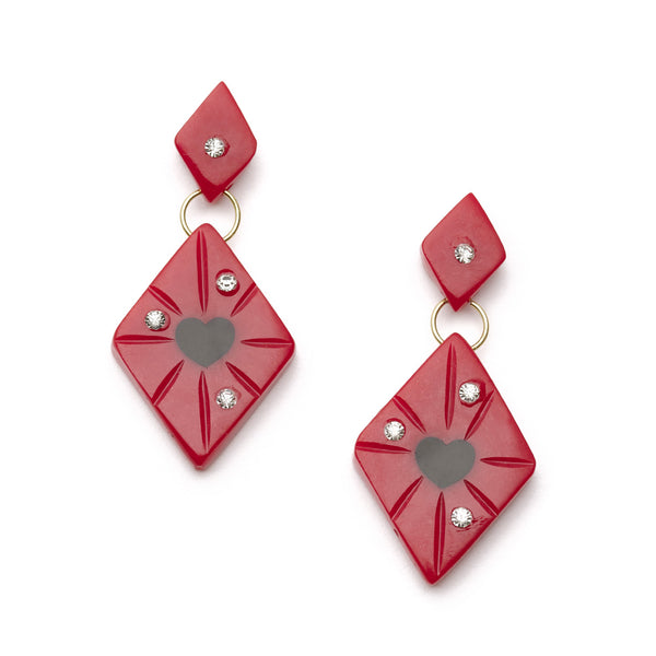 Splendette vintage inspired 1950s style Valentine's red Narrow Heartthrob Starburst Earrings