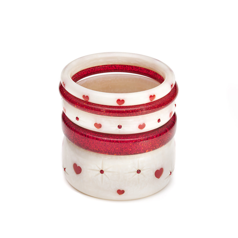 Splendette vintage inspired 1950s style Valentine's white Secret Admirer Starburst Bangles and Red Glitter Bangles in a stack