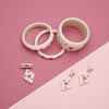 Splendette vintage inspired 1950s style Valentine's white Secret Admirer Starburst Bangles, Earrings and Brooch flat lay
