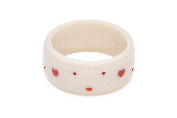 Splendette vintage inspired 1950s style Valentine's white Extra Wide Secret Admirer Starburst Bangle in larger Duchess size
