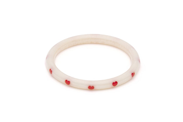 Splendette vintage inspired 1950s style Valentine's white Narrow Secret Admirer Diamante Bangle in larger Duchess size