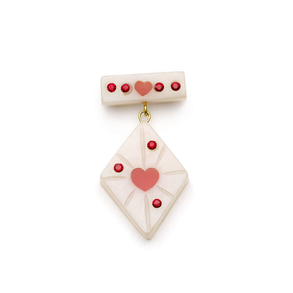 Splendette vintage inspired 1950s style Valentine's white Narrow Secret Admirer Starburst Brooch