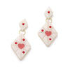 Splendette vintage inspired 1950s style Valentine's white Narrow Secret Admirer Starburst Earrings