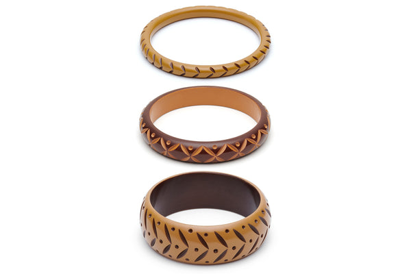 Almond and Walnut Set of 3 Duchess Bangles