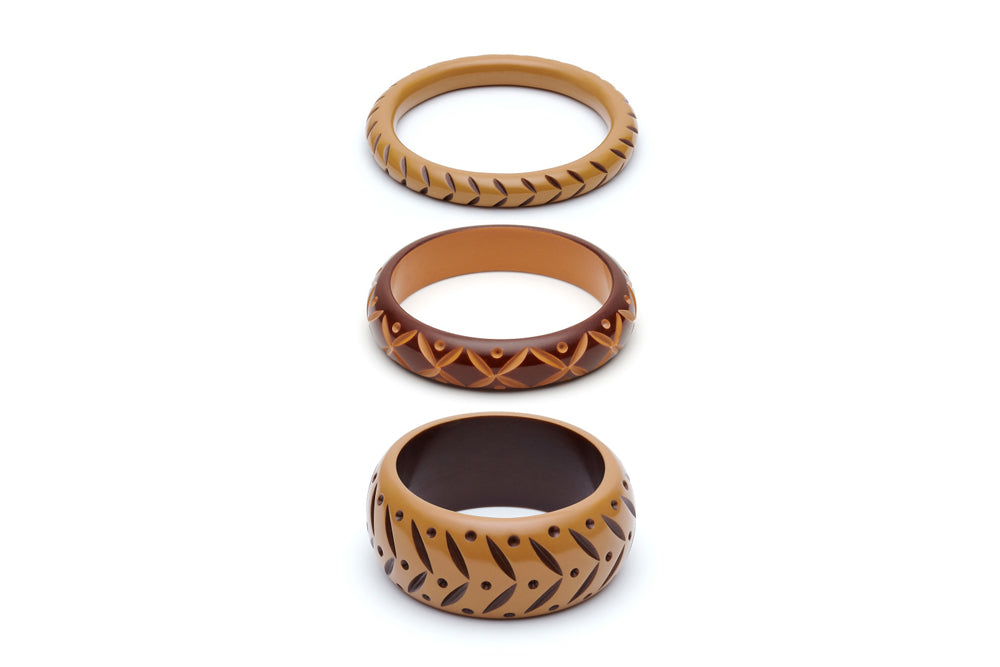 Almond and Walnut Set of 3 Maiden Bangles