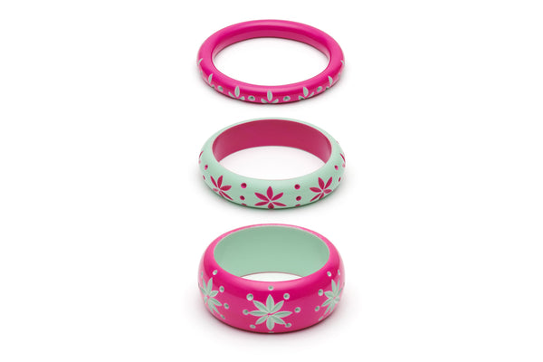 Flamingo and Parrot Set of 3 Maiden Bangles
