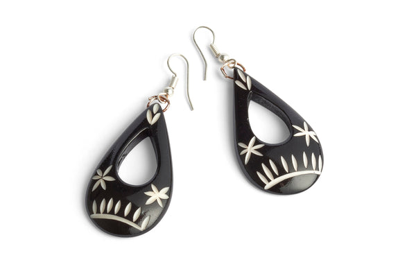 Carved Black Teardrop Earrings