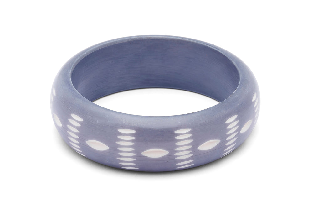 Wide Blue Carved Bangle
