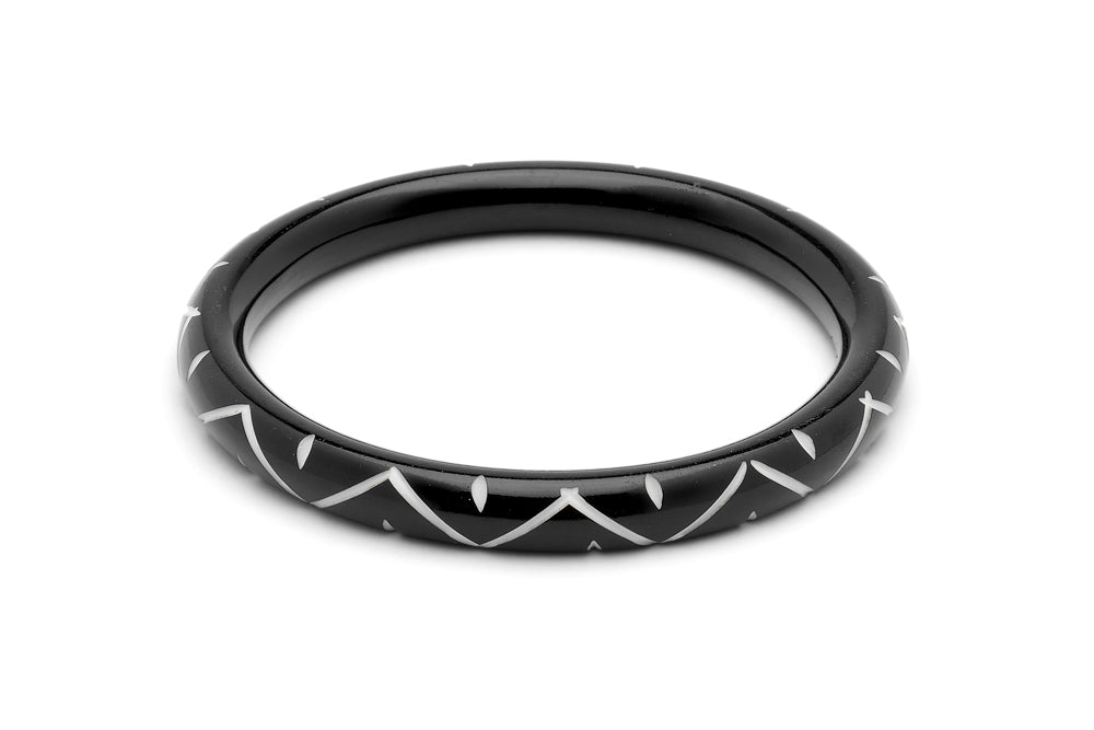 Narrow Black Carved Bangle
