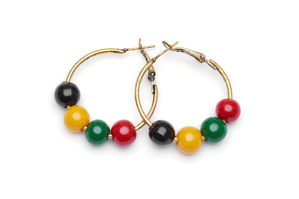 Multicoloured Fakelite Bead Hoop Earrings