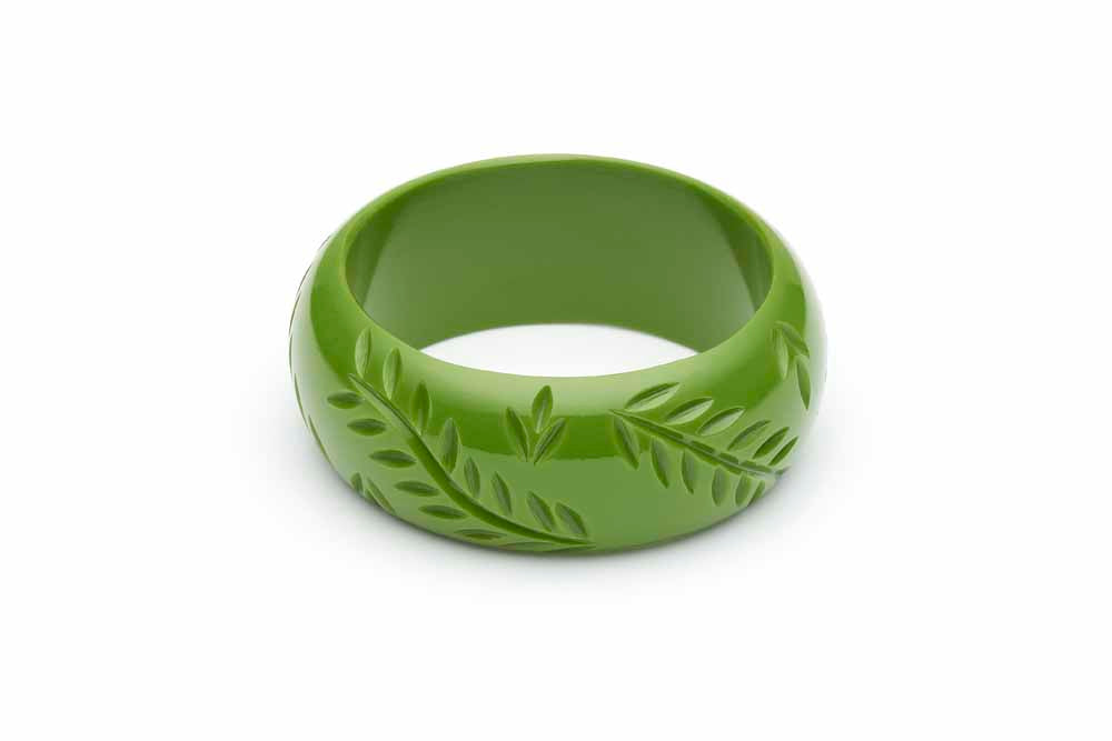 1940s style leaf green bakelite style wide bangle