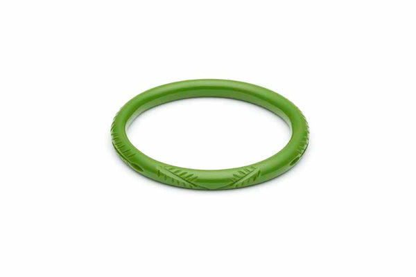 1940s style leaf green bakelite style narrow duchess bangle