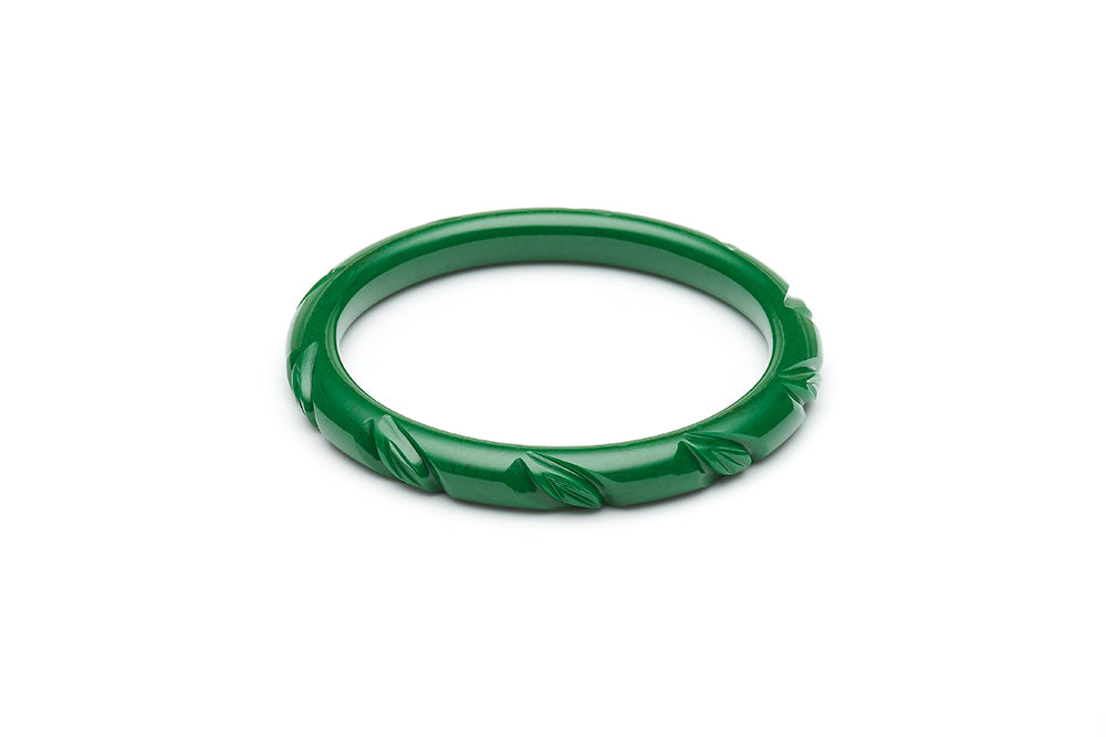 1940s style forest green heavy carve narrow duchess bangle
