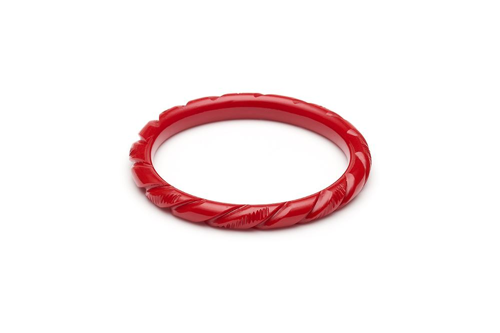 Narrow Red Heavy Carve Fakelite Bangle