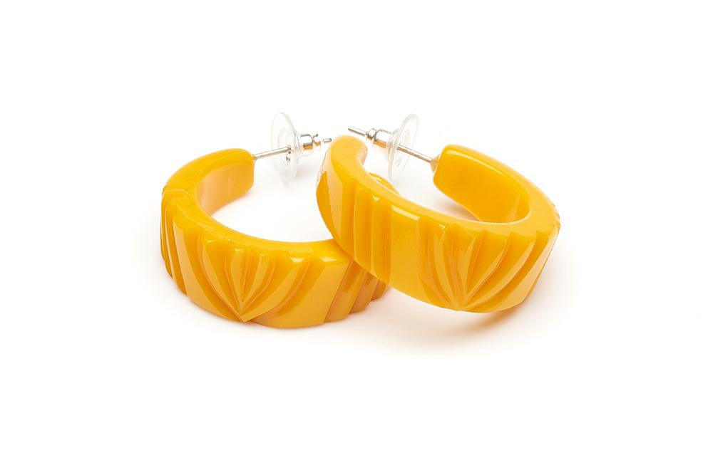 Yolk Heavy Carve Fakelite Hoop Earrings