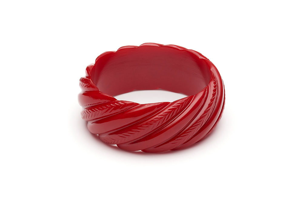 1940s style red heavy carve wide duchess bangle