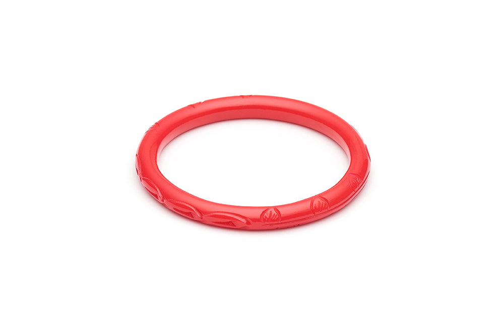 Narrow Coral Fakelite Bangle