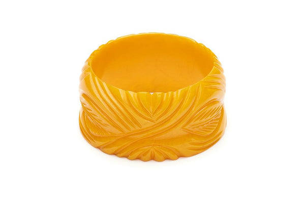 Wide Yolk Heavy Carve Fakelite Bangle