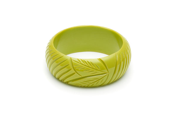 Wide Chartreuse Fakelite Bangle