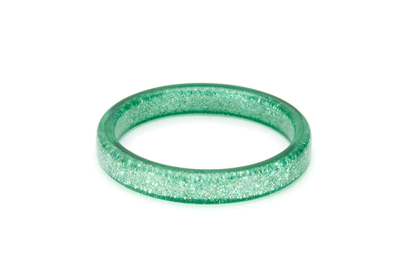 Splendette vintage inspired 1950s pin up style pastel Green Lagoon Glitter Bangle in larger Duchess size