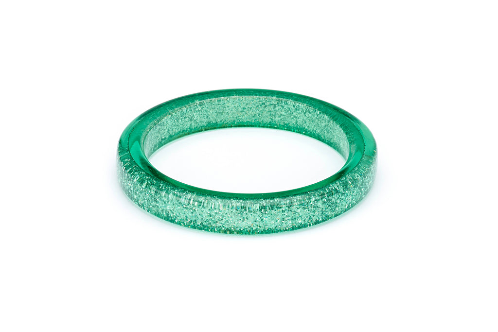 Splendette vintage inspired 1950s pin up style pastel Green Lagoon Glitter Bangle in smaller Maiden size