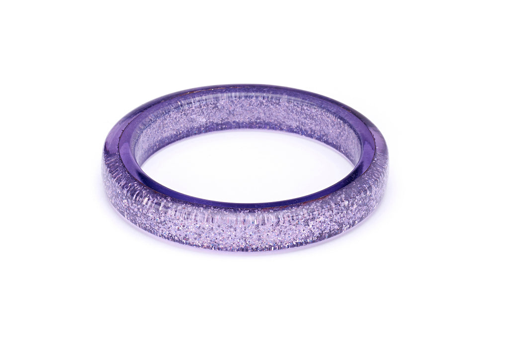 Splendette vintage inspired 1950s pin up style pastel Lilac Glitter Bangle in Classic size