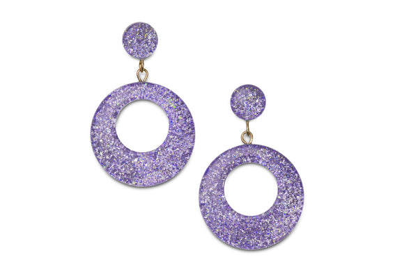 Splendette vintage inspired 1950s pin up style pastel Lilac Glitter Drop Hoop Earrings