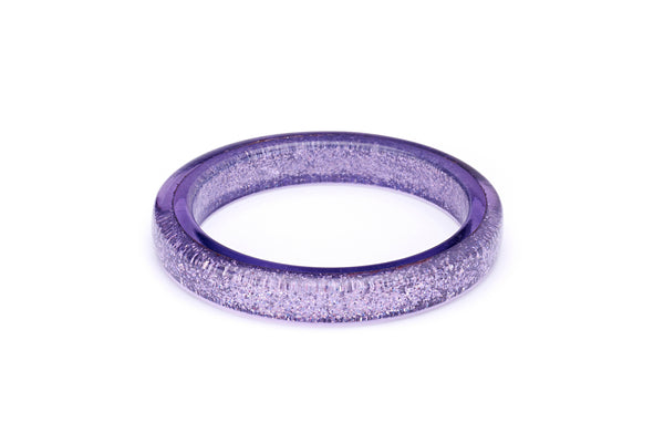 Splendette vintage inspired 1950s pin up style pastel Lilac Glitter Bangle in smaller Maiden size