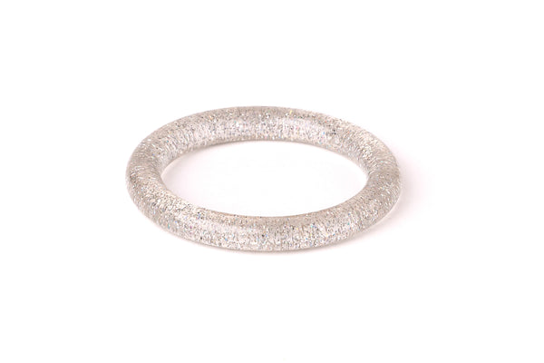 Splendette vintage inspired 1950s pin up style Narrow Silver Glitter Bangle in smaller Maiden size