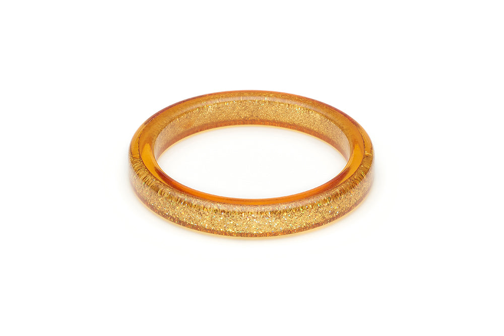 Splendette vintage inspired 1950s pin up style Pale Gold Glitter Bangle in Classic size