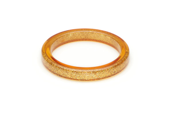 Splendette vintage inspired 1950s pin up style Pale Gold Glitter Bangle in smaller Maiden size