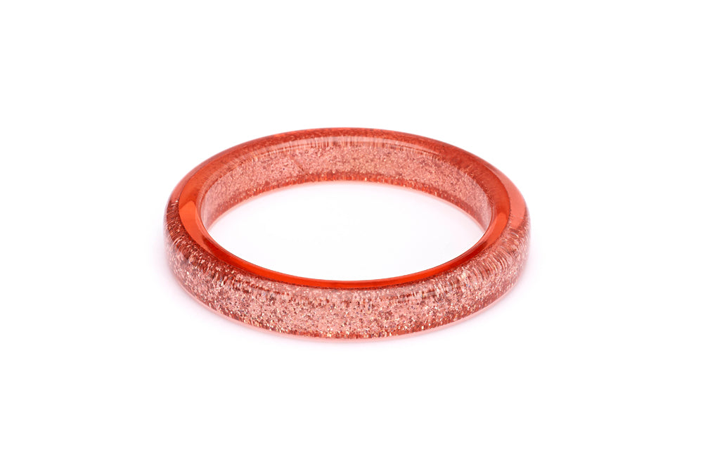 Splendette vintage inspired 1950s pin up style Peachy Glitter Bangle in larger Duchess size