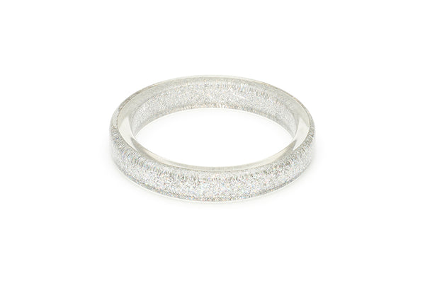 Splendette vintage inspired 1950s pin up style Silver Glitter Bangle in Classic size