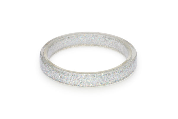 Splendette vintage inspired 1950s pin up style Silver Glitter Bangle in larger Duchess size