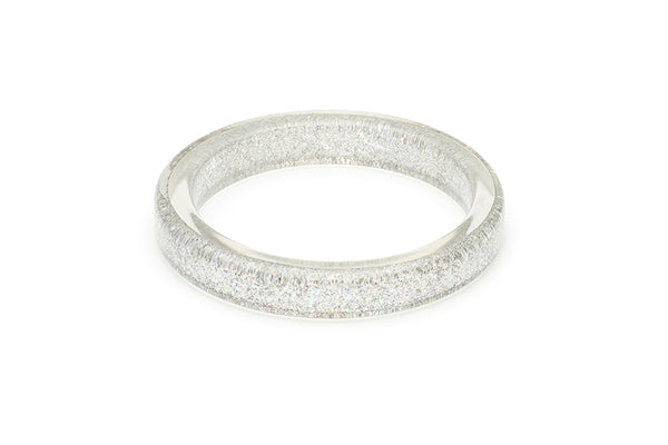 Splendette vintage inspired 1950s pin up style Silver Glitter Bangle in smaller Maiden size