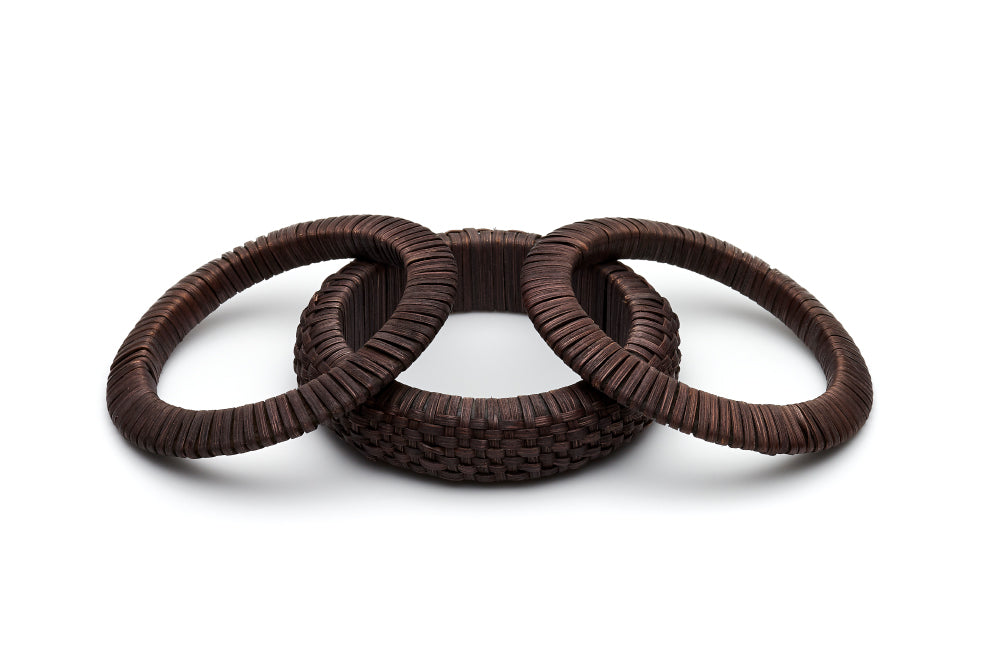 Set of 3 Dark Woven Bamboo Bangles