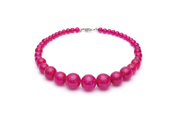 Fuchsia Glitter Bead Necklace