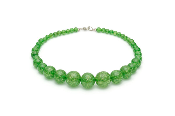 Leaf Green Glitter Bead Necklace