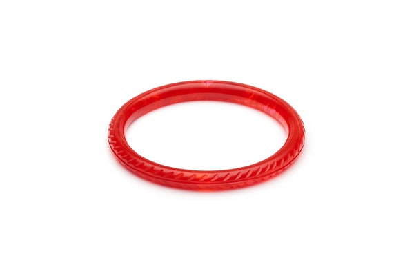 Narrow Poppy Red Fakelite Bangle