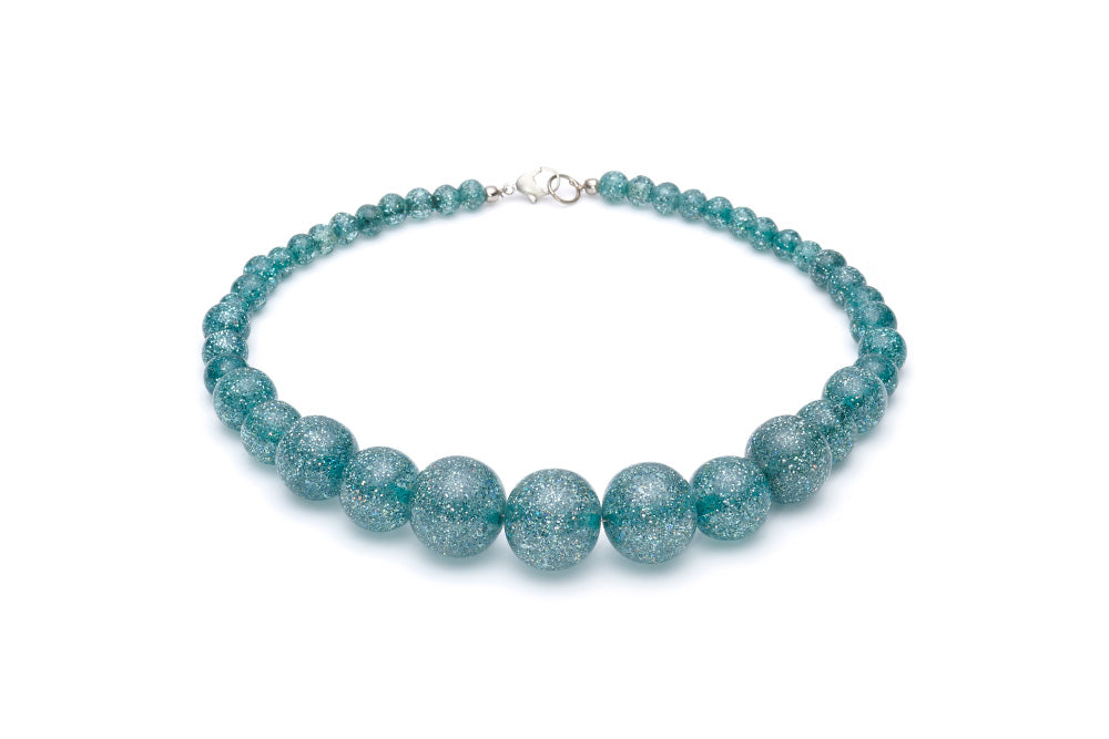Teal Glitter Bead Necklace