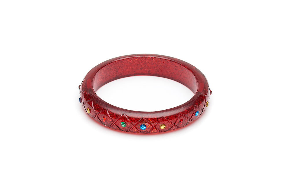 Midi Rainbow Jewel Carved Ruby Glitter Bangle