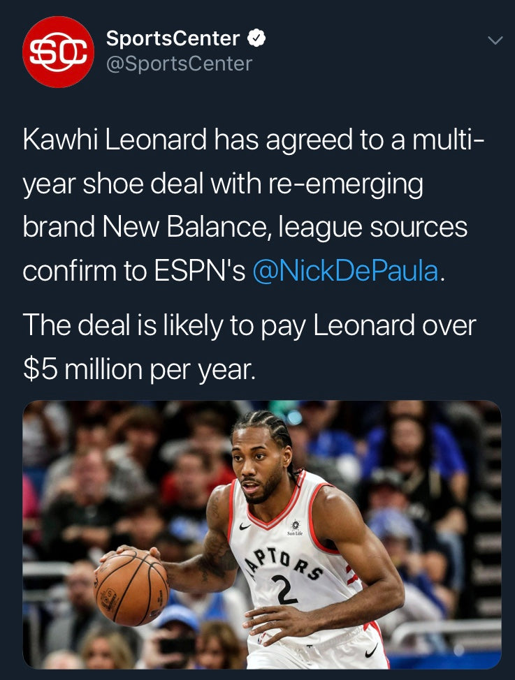 b7be7e105838 Kawhi Leonard signs deal with New Balance! – A-List Design Shop